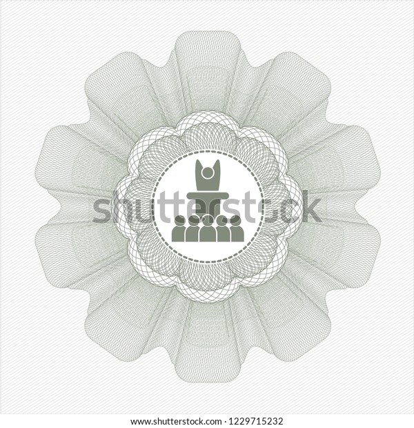 Green money style emblem or rosette with motivational speech icon inside