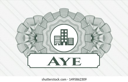 Green money style rosette with buildings icon and Aye text inside