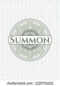 Green money style rosette with text Summon inside