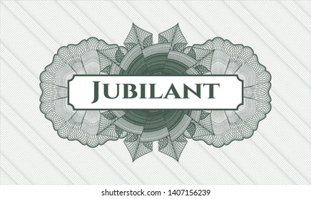 Green money style rosette with text Jubilant inside