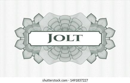 Green money style rosette with text Jolt inside
