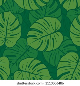 green monochrome monstera leaves graphic exotic seamless pattern