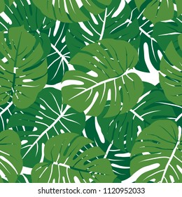 green monochrome monstera leaves graphic exotic seamless pattern on white background