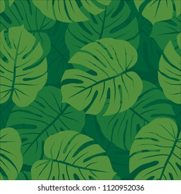 green monochrome monstera leaves graphic exotic seamless pattern on dark background