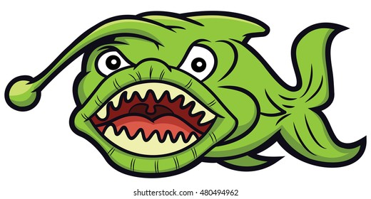 Green Monster Fish Cartoon Illustration