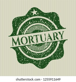 Green Mortuary rubber stamp with grunge texture