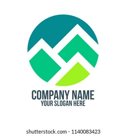 green mountain and forest and abstract logo concept for company, corporate, foundation, business, startup and enterprise