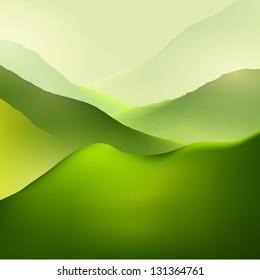 Green mountain landscape vector background