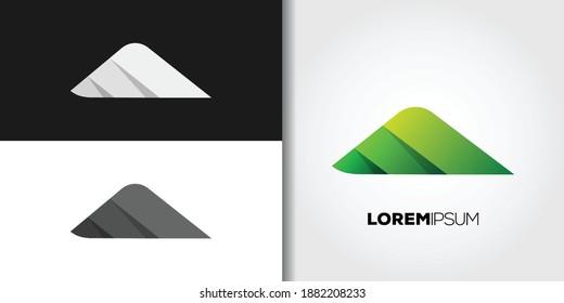 green mountain logo set idea template vector