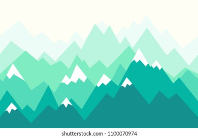 Green mountain ridges. Nature landscape in geometric style. Seamless vector illustration for backgrounds, wallpapers, murals and prints.