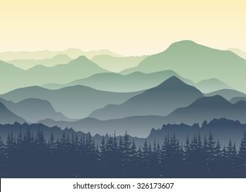 Zielone góry we mgle. Bezszwowe tło.