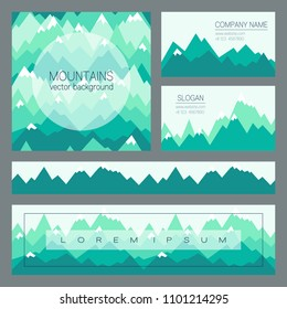 Green mountains in geometric style. Outdoor cards with space for text. Set of stylish backgrounds for business cards, presentations, flyers, banners and covers design.