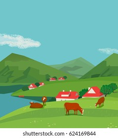 Green mountains landscape. Freehand drawn cartoon outdoors style. Farming herd brown Alps cows on summer meadow. Rural community scene view with green grass on hills. Vector nature season background