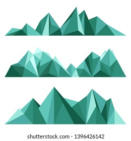 Green mountains in low poly style. Polygonal mountain ridges. Vector set.