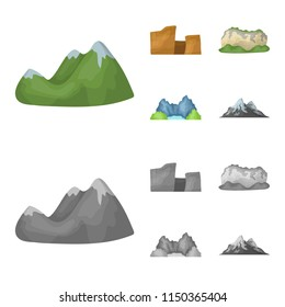 Green mountains with snow tops, a canyon, rocks with forests, a lagoon and rocks. Different mountains set collection icons in cartoon,monochrome style vector symbol stock illustration web.