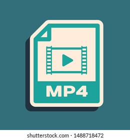 Green MP4 file document. Download mp4 button icon isolated on blue background. MP4 file symbol. Long shadow style. Vector Illustration