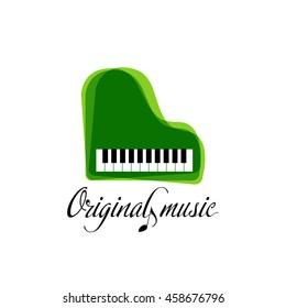 Green music piano logo. Jazz logo. Color music template. Music Brand template.Musical instrument logo.