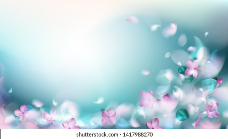 Green mystery spring background with magic purple blurred flower petals and leaves vector illustration