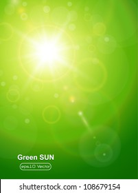 Green natural  background with summer sun and lens flare.