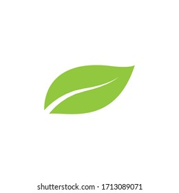 Green natural leaf drawing, vector