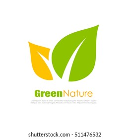 Green natural leaf vector logo illustration
