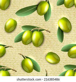 Green natural organic olives branches seamless pattern vector illustration