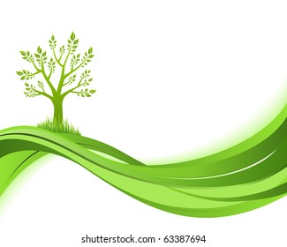 Green nature background. Eco concept illustration. Abstract green vector illustration with copyspace.