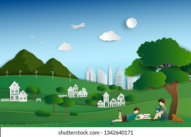 Green nature city with child reading books under the trees,background for World book day or international Education Week,vector illustration