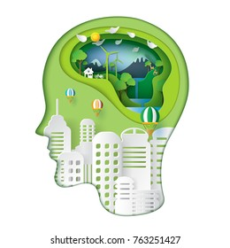 Green nature and eco friendly concept idea.Human head thinking environment conservation paper art style.Vector illustration.