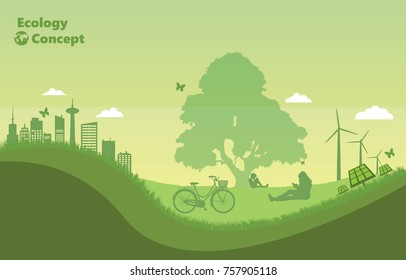 The green nature. Environmentally friendly world and ecology concept. people reading book under the tree