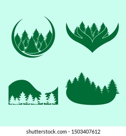 Green nature forest illustration logo design collection. Rain Forest. EPS 8 compatible. no gradient. no transparency - vector