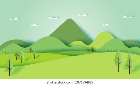 Green nature forest landscape scenery banner background paper art style.Vector illustration.