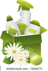 green nature friendly detergent set,vector