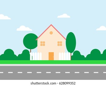 green nature house and road.landscape background