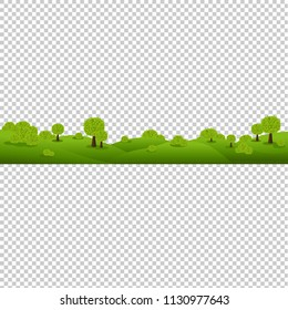 Green Nature Landscape Isolated Transparent Background With Gradient Mesh, Vector Illustration