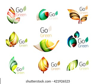 Green nature leaf vector concept icon set. Vector illustration