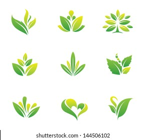 Green nature social logo and tree symbol