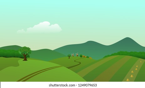 green nature vector with bird,Vector cartoon illustration of a green summer landscape - Glade in a forest. Nature landscape 2d vector background - A high quality horizontal background of landscape