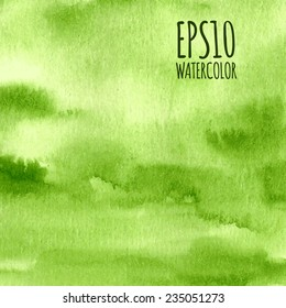 Green nature watercolor gradient abstract vector background.