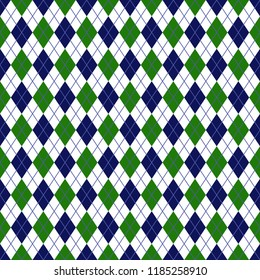Green and Navy Argyle Seamless Pattern - Green, white, and navy blue argyle design