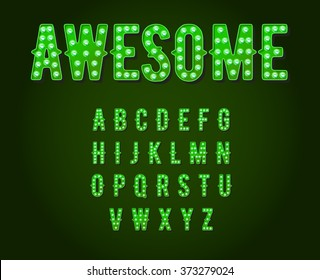 Green Neon Casino or Broadway Signs style light bulb Alphabet in Vector