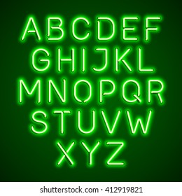 Green neon light glowing alphabet. Vector.