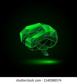 Green neon polygonal human brain on a black background. Abstract anatomy organ. Brain in 3D low poly style.