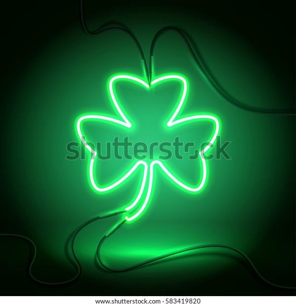 Green neon sign, Shamrock Clover on dark background. Design element for St Patrick's Day. Ready for your design, greeting card, banner. Vector illustration.