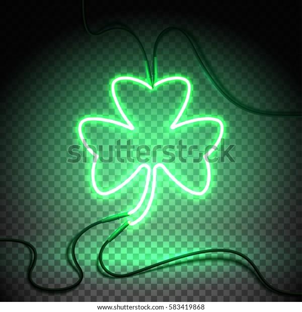 Green neon sign, Shamrock Clover on transparent background. Design element for St Patrick's Day. Ready for your design, greeting card, banner. Vector illustration.