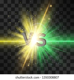 Green neon and yell lightning flash versus, vs letters for sports, fight, competition. Battle, match, game, political confrontation on transparent background. Stardust and glitter around explosion.