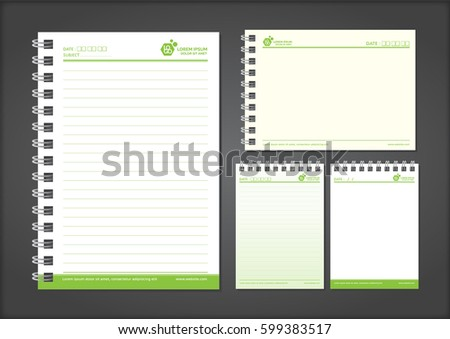 green note book template collection on stock vector royalty free