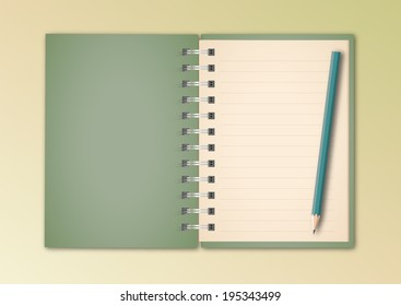 Green Notebook and Pencil Vector