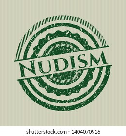 Green Nudism distressed rubber grunge stamp
