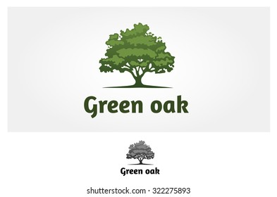 Green Oak Vector Logo Template. Green Oak Silhouette of a tree, Vector logo illustration.